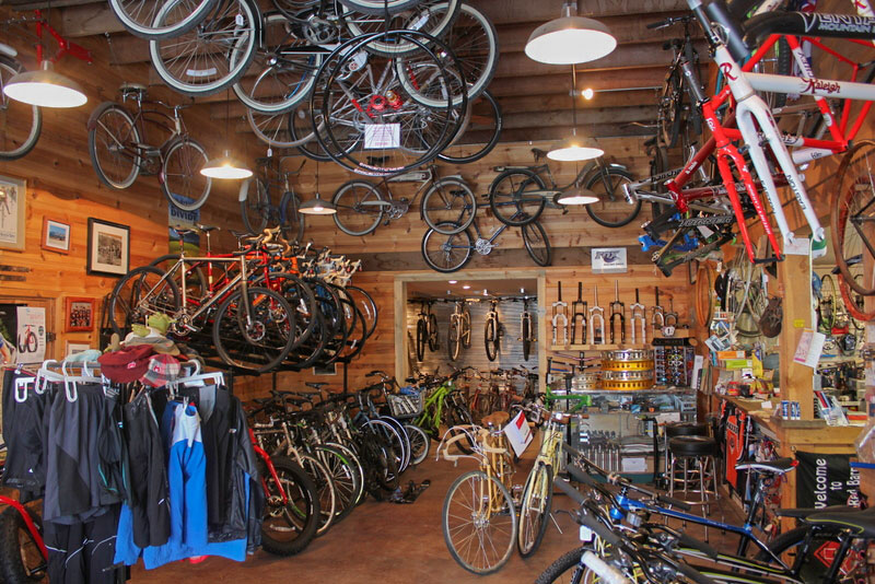 inside of red barn bicycles shop hamilton montana